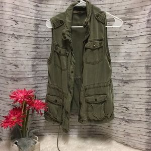 "Tops - Green ""denim"" Moto jacket"